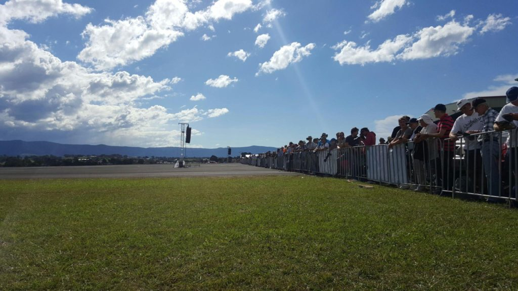 Electro-Voice line array speaker audio sound PA for outdoor event Wings over Illawarra 2016